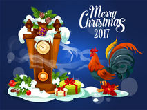 Merry Christmas card with rooster and gift box Stock Images