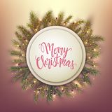 Merry Christmas card, round banner and pine leaves decorated wit stock illustration