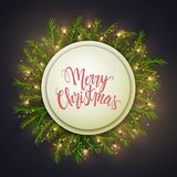Merry Christmas card, round banner and pine leaves decorated wit Royalty Free Illustration