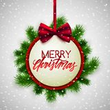 Merry Christmas card, round banner, red bow and pine leaves, vec stock illustration