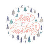 Merry Christmas card with round christmas tree Season`s Greetings card. Hand lettering calligraphic inscription by brush for Chris Stock Photos
