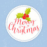 Merry Christmas card with round paper frame, holly Stock Photography