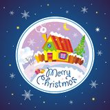 Merry Christmas. Card. Rural landscape. Vector illustration Stock Images