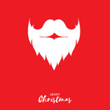 Merry Christmas card with Santa Claus beard and mustache. On red background. Vector illustration for greeting card Royalty Free Stock Photos