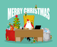 Merry Christmas card. Santa Claus checks mail from children. Big Stock Photography