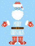 Merry Christmas card. Santa Claus elements with ethnic pattern. Stock Photo