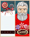 Merry christmas card. Santa Claus and field of lollipops Stock Photography