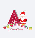 Merry christmas card with santa claus and gift Royalty Free Stock Photos