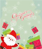 Merry christmas card with santa claus and gift Stock Photography
