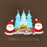Merry christmas card with santa claus and gift Royalty Free Stock Images