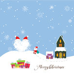 Merry christmas card with santa claus, gift and christmas house Stock Images