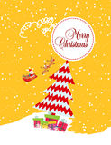 Merry christmas card with santa claus, gift and christmas tree Royalty Free Stock Photos