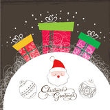 Merry christmas card with santa claus and gifts Stock Photo