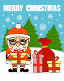 Merry Christmas card .Santa Claus with gifts Royalty Free Stock Photography