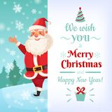 Merry Christmas card. Santa Claus greeting cards template, winter holidays banner vector illustration royalty free illustration