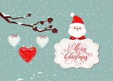 Merry christmas card with santa claus and hearts stock illustration
