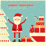 Merry christmas card with Santa Claus and holiday presents Stock Photo