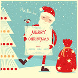 Merry christmas card with Santa Claus Royalty Free Stock Photo