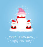 Merry christmas card with santa claus and snowman. Christmas Background and element for design Royalty Free Stock Photography