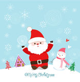 Merry christmas card with santa claus, snowman and christmas house. Christmas Background and element for design Stock Photography