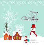 Merry christmas card with santa claus, snowman and christmas house. Christmas Background and element for design Royalty Free Stock Photos