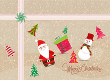 Merry christmas card with santa claus, snowman and gift Royalty Free Stock Photos