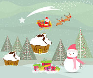 Merry christmas card with santa claus, snowman and gift Royalty Free Stock Photography