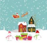 Merry christmas card with santa claus, snowman, gift and christmas house Stock Photos