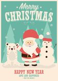Merry Christmas card with Santa Claus, snowman and reindeer, winter landscape. Vector illustration stock illustration