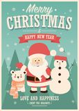 Merry Christmas card with Santa Claus, snowman and reindeer, winter landscape. Vector illustration royalty free illustration