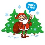 Merry Christmas card. Santa Claus Vector illustration Royalty Free Stock Photo