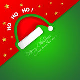 Merry Christmas card with Santa hat Royalty Free Stock Photos