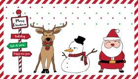 Merry Christmas card Santa reindeer snowman Royalty Free Stock Photography