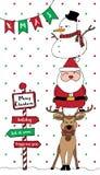 Merry Christmas card Santa reindeer snowman vertical Stock Photo