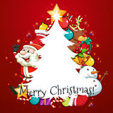 Merry Christmas card with Santa and tree Royalty Free Stock Image