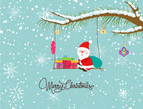 Merry christmas card with santaclaus and gift Royalty Free Stock Photo