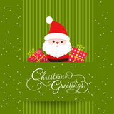 Merry christmas card with santaclaus and gift Stock Images