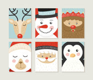 Merry christmas card set cute retro santa elf face. Merry Christmas design set. Cute retro designs of winter xmas characters: santa, bear, penguin, deer, elf and Royalty Free Stock Images