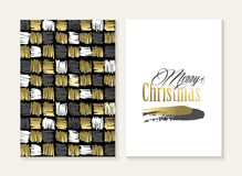 Merry christmas card set pattern gold indian shape Royalty Free Stock Photos
