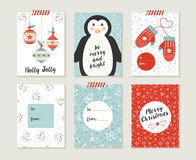 Merry christmas card set pattern retro cute bauble Stock Photos
