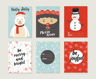 Merry christmas card set pattern retro cute bear Royalty Free Stock Photos