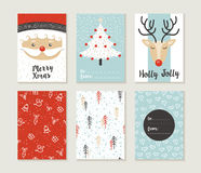 Merry christmas card set pattern retro cute santa. Merry Christmas greeting card set with cute xmas tree, santa and deer retro designs. Includes holiday themed Stock Photo