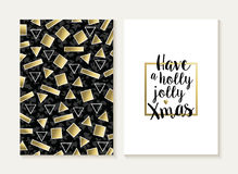 Merry christmas card set retro gold 80s pattern. Merry Christmas card template set: retro 80s gold geometry seamless pattern and trendy Xmas text in metallic Royalty Free Stock Photo
