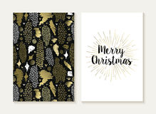Merry christmas card set retro tribal gold pattern Stock Photo