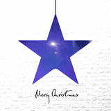 Merry Christmas card with shine star on paper background. Stock Images