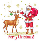 Merry Christmas card in sketch style. Hand drawn Santa Claus and deer . Vector illustration Royalty Free Stock Images