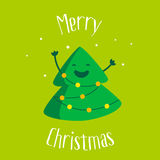 Merry Christmas card with a smiling cartoon christmas tree and garland with lights on green background. Flat design. Vector illust Royalty Free Stock Photo