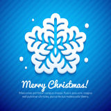 Merry Christmas Card with Snowflake Stock Photo