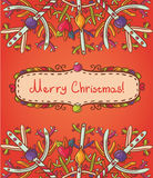 Merry Christmas card with snowflakes Stock Image