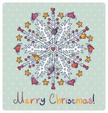 Merry Christmas card with snowflakes Stock Images